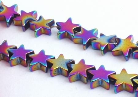 85 Wonderful Aurora Borealis Hematite Star Beads