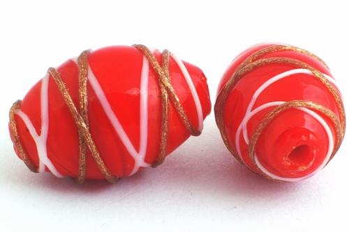 5 Beautiful Red & Gold Lampwork Barrel Beads