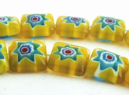 Enticing Yellow & Blue Flower Millefiori Square Beads