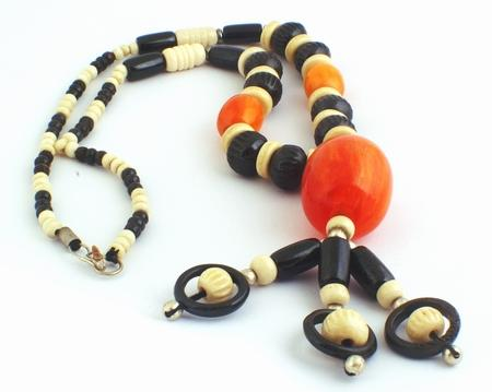 Breathtaking Orange Amber & Bone Necklace