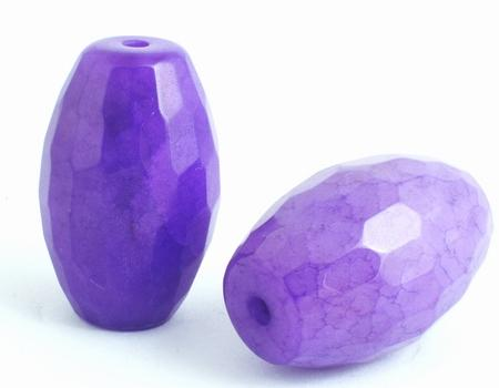 2 Large Deep Purple Faceted Agate Barrel Beads