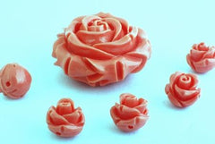 Paradise Pink Flower Acrylic Beads -  6mm or 20mm