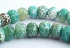 63 Rich Faceted Aqua-Green Crab Fire Agate Rondelle Beads