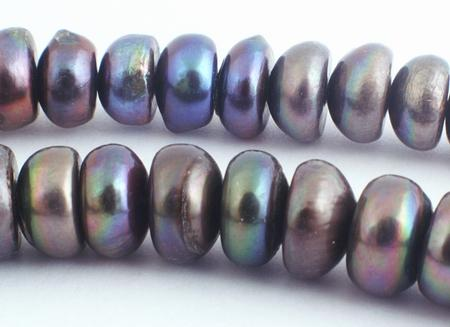 Large Silver Black 10mm Pearl Rondelle Beads