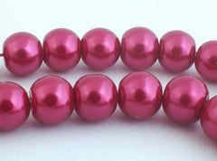 Gorgeous Cranberry Glass Pearl Beads - 8mm