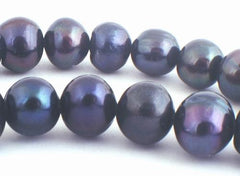 Large Silky Black Chinese Pearl Beads - 8mm or 10mm