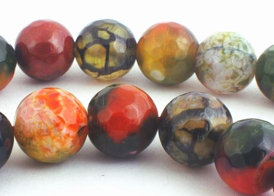 Large 10mm Shiny Deep Red & Green Faceted Fire Agate Beads