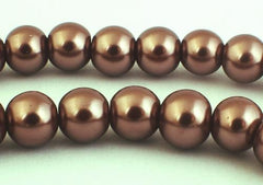 Blissful Chestnut Glass Pearl Beads - 8mm