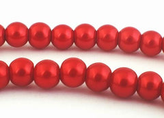 Sensual Raspberry Red Glass Pearl Beads - 6mm