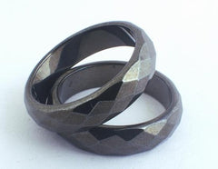Large Sleek Faceted Magnetic Hematite Ring
