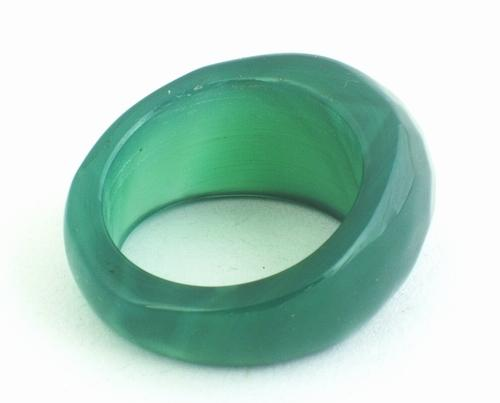 Faceted Distinctive Emerald Green Jade Ring