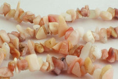 Cheerful Peruvian Pink Opal Bead Chips - Long 32-inches