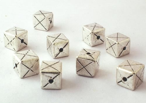 20 Large Silver Domino Cube Spacer Beads - 6mm