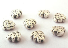 30 Silver Leaf Bead Spacers - 7mm