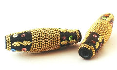 Long 59mm Glamorous Gold & Black Cloisonne Bead - Large Hole