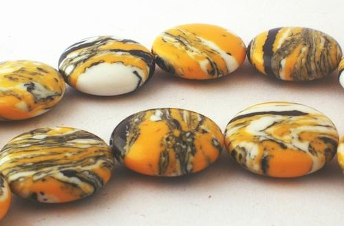 Alluring Yellow Button Calsilica Beads