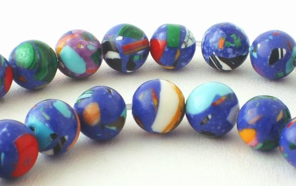 Deep Blue & Red Picasso Calsilica Beads - 6mm