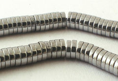 400 Small Silver Hematite Heishi Disc Beads