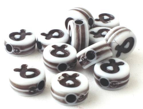 200 Lucky Crossed Finger Black & White Pony Beads