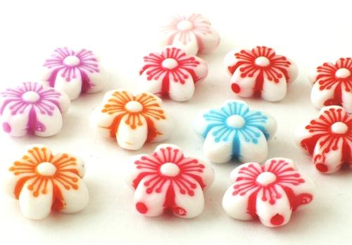 35 Large Petal Pony Beads - Red, Blue, Purple & White
