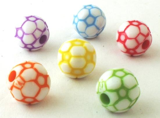 25 Large Football Pony Beads - Red, Yellow, Green, Blue & Purple