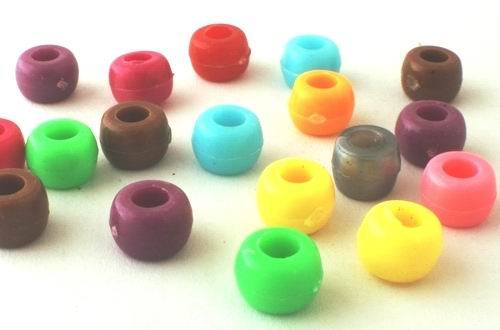 200 Colourful Rondelle Pony Beads - 9mm x 6mm