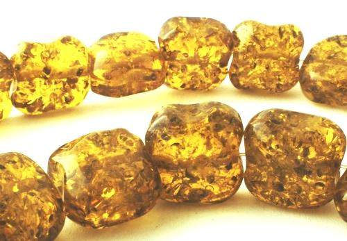 32 Chunky Olive-Yellow Amber Nugget Beads