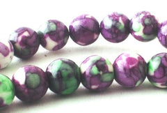 Lavender & Green Rain Flower Viewing Stone Beads - 6mm