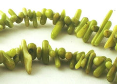 Wild Green Coral Angel-Hair Coral Icicle Chip Beads