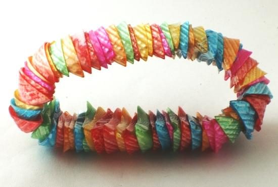 Chunky Rainbow Mother-of-Pearl Shell Bracelet - Heavy!