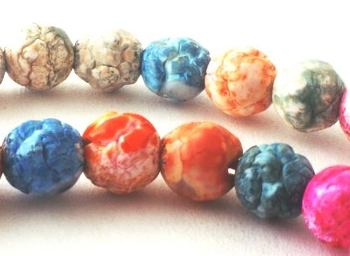 Striking Summer Rainbow Crackle Agate 6mm Beads