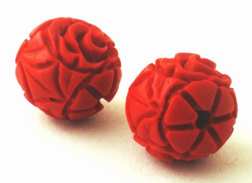4 Deep-Red 12mm Carved Cinnabar Beads