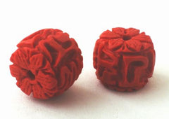 2 Deep-Red Carved Drum Cinnabar Beads