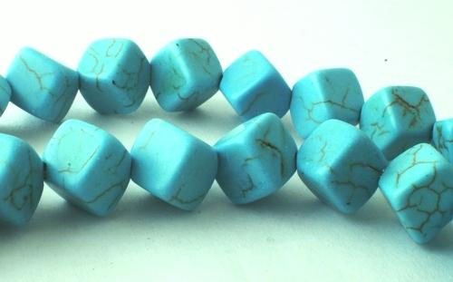 40 Large 8mm Blue Turquoise Cube Beads