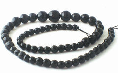 Faceted Black Agate Graduated 14mm to 6mm String