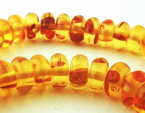 Golden Yellow Amber Rondelle Beads - 8mm or 10mm
