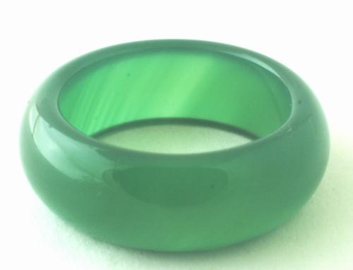 Large Chunky Forest Green Agate Ring - 8mm wide