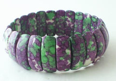 Purple & Green Quarter-Moon Rain Flower Viewing Stone Bracelet