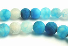 Frosted Celeste-Blue Agate Matte Beads - 6mm