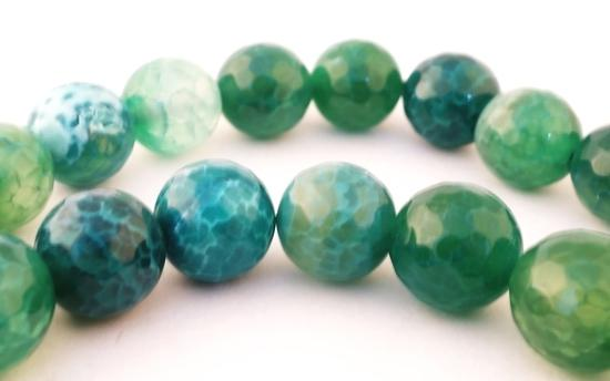 Large Bold 12mm Faceted Forest Green Agate Beads