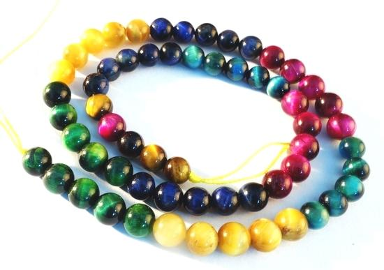 Unusual  Striking Multi Colour Tiger eye  Beads - 6mm