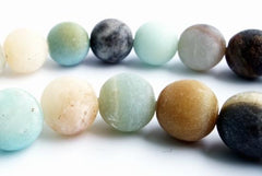 Spring-Green Black Mixed  Matte Amazonite Beads - 6mm, 8mm or 10mm