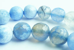 Vibrant Faceted Periwinkle-Blue Crab Fire Agate Beads - 6mm or 10mm