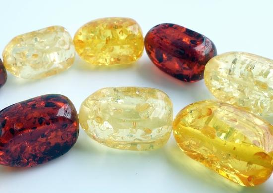 19 Breathtaking 3-Tone Amber Nugget Beads