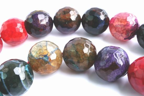 Large 12mm Faceted Deep-Rainbow Agate Beads - Heavy!