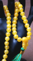 Chinese Yellow Jade Buddhist Mala Necklace