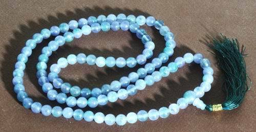 Chinese Violet and Green Jade Buddhist Mala Necklace