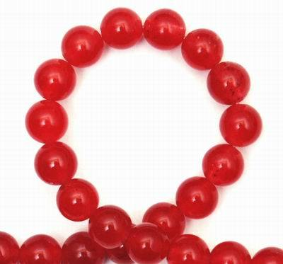 Kissable Cherry-Red 8mm Jade Bead String