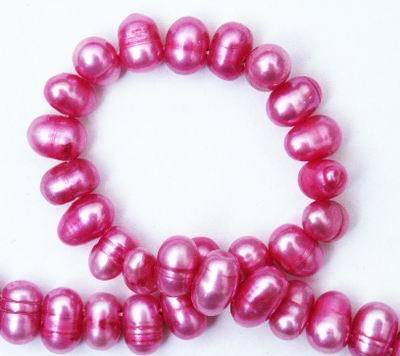 Beautiful Dark Pink Pear Top-Drilled Pearl String