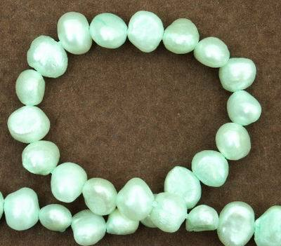 Aqua Green Chinese Biwa Pearl String - 6mm